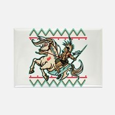 Indian Warrior on Horse Rectangle Magnet
