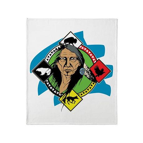 Native American Medicine Wheel Throw Blanket