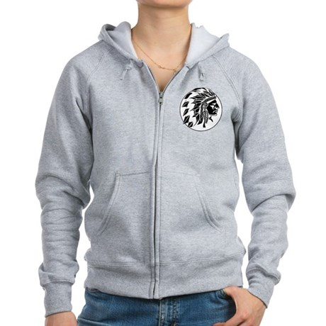 Indian Chief Head Women's Zip Hoodie