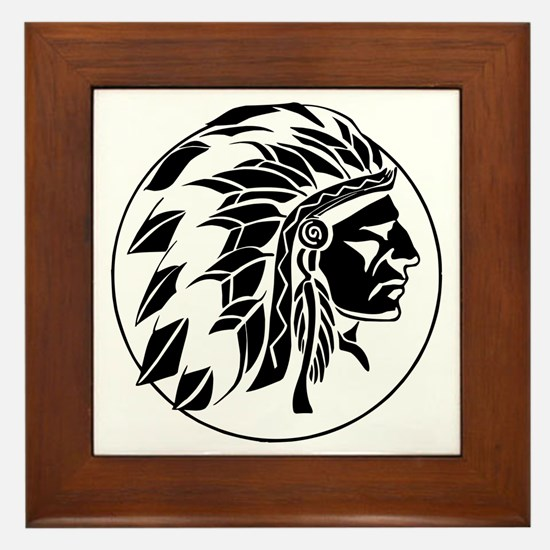 Indian Chief Head Framed Tile
