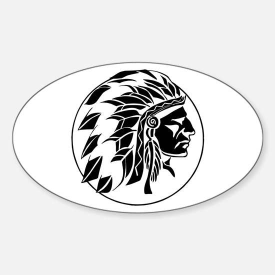Indian Chief Head Sticker (Oval)
