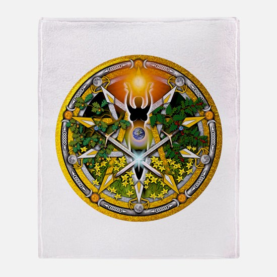 Litha/Summer Solstice Pentacl Throw Blanket
