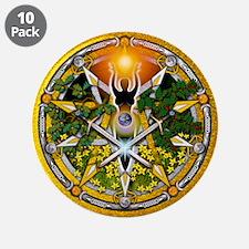 """Litha/Summer Solstice Pentacl 3.5"""" Button (10"""