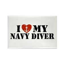 I Love My Navy Diver Rectangle Magnet