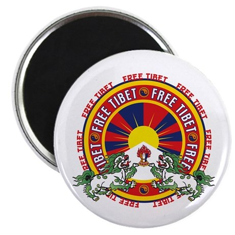 "Free Tibet Snow Lions 2.25"" Magnet (10 pack)"