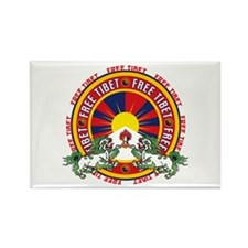 Free Tibet Round Logo Rectangle Magnet