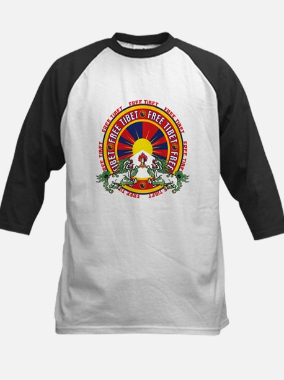 Free Tibet Snow Lions Kids Baseball Jersey