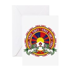 Free Tibet Snow Lions Greeting Card