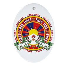 Free Tibet Snow Lions Ornament (Oval)