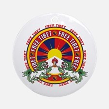 Free Tibet Snow Lions Ornament (Round)