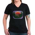 Nesting Doves Women's V-Neck Dark T-Shirt