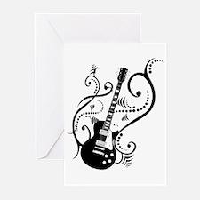 Retro Guitar waves Greeting Cards (Pk of 10)