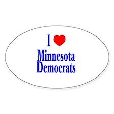 I Love Minnesota Democrats Oval Decal