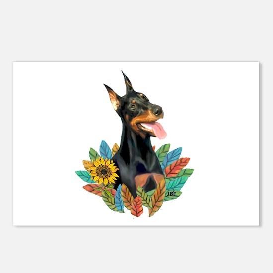 Leaves2-Doberman Pinscher Postcards (Package of 8)