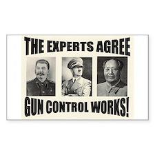 The Experts Agree Gun Control Sticker (Rectangular