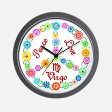 Peace Love Virgo Wall Clock