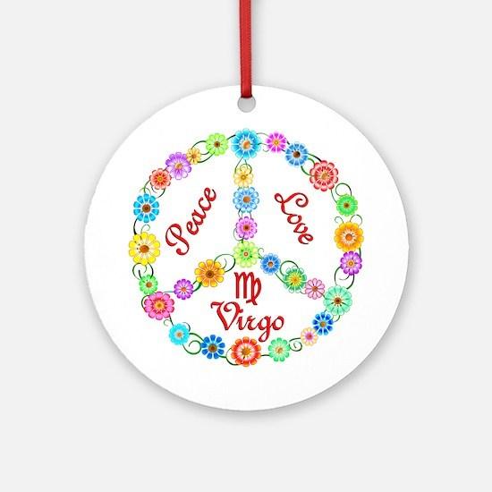 Peace Love Virgo Ornament (Round)