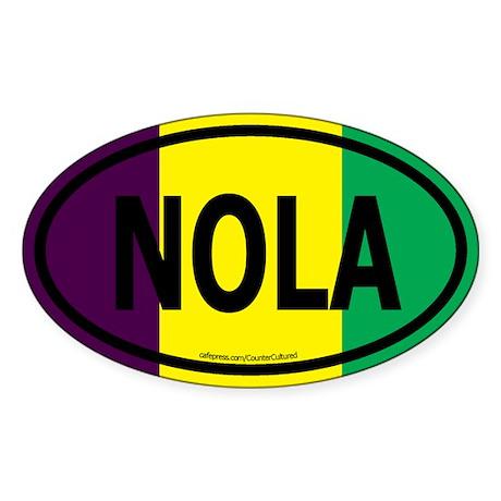 TriColor NOLA Euro/Black Oval Sticker