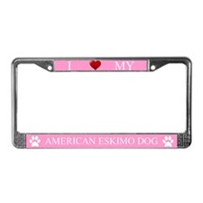 Pink I Love My American Eskimo Dog Frame