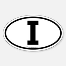 """I"" Italian Euro Flag 1 Oval Decal"