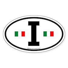 """""""I"""" Italian Euro Flag 2 Oval Decal"""