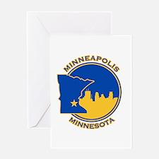 Minneapolis Golden Skyline Greeting Card