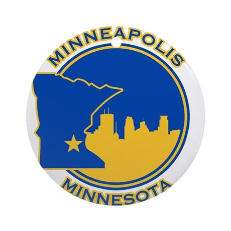 Minneapolis Golden Skyline Ornament (Round)