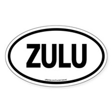 Zulu / White Euro Oval Decal