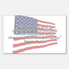 Ben Franklin: Liberty Or Safety Sticker (Rectangul