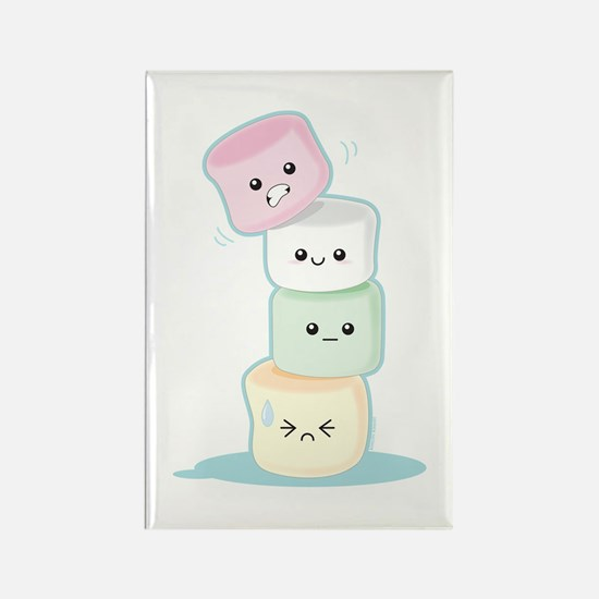 Stacked Marshmallows Rectangle Magnet