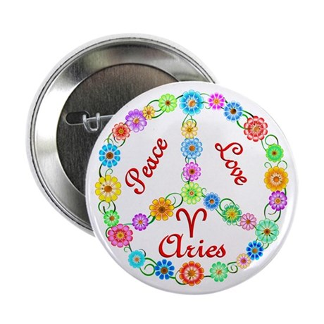 "Peace Love Aries 2.25"" Button"