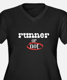 Runner or no Women's Plus Size V-Neck Dark T-Shirt