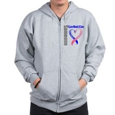 Male Breast Cancer Needs Cure Zip Hoodie
