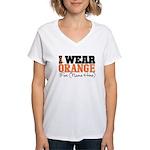 Custom I Wear Leukemia Women's V-Neck T-Shirt