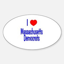 I Love (Heart) MA Democrats Oval Decal