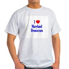 I Love Maryland Democrats Ash Grey T-Shirt