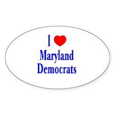 I Love Maryland Democrats Oval Decal