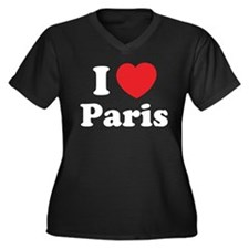 I love Paris Women's Plus Size V-Neck Dark T-Shirt