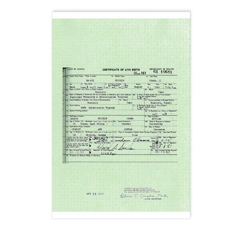 Obama Birth Certificate Postcards (Package of 8)