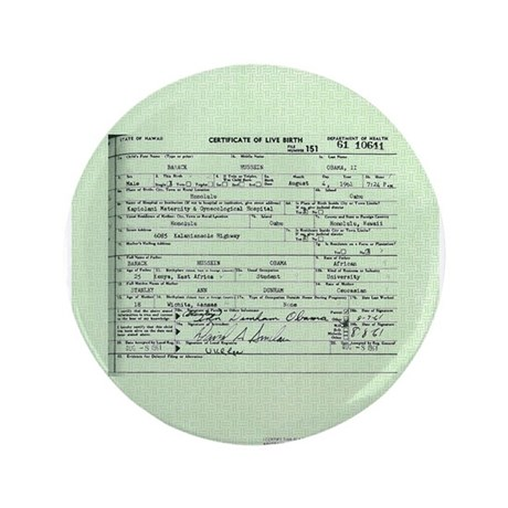 "Obama Birth Certificate 3.5"" Button (100 pack)"