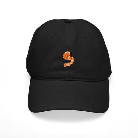 Cute Cartoon Fishing Worm Black Cap
