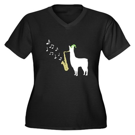 Saxophone Women's Plus Size V-Neck Dark T-Shirt