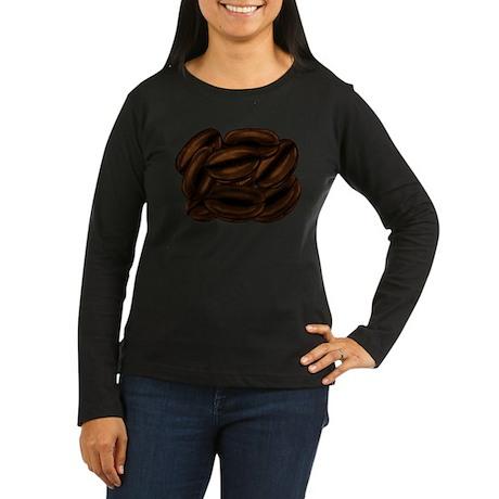 Giant Coffee Beans Women's Long Sleeve Dark T-Shir