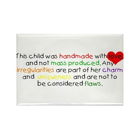 Handmade With Love girl Rectangle Magnet (10 pack)