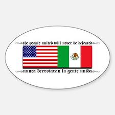 USA & MEXICO UNITE Oval Decal