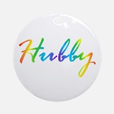 rainbow hubby gay couple Round Ornament