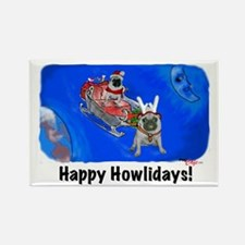 Howliday Pugs Rectangle Magnet