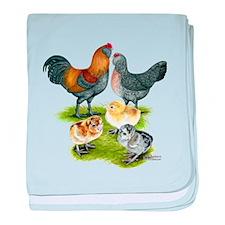 Ameraucana Chicken Family baby blanket