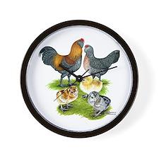Ameraucana Chicken Family Wall Clock