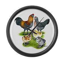 Ameraucana Chicken Family Large Wall Clock